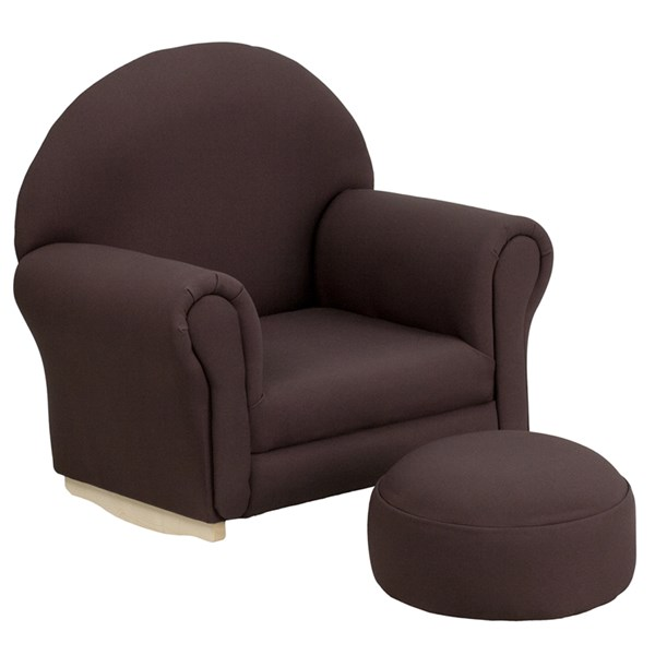 Kids Brown Fabric Rocker Chair and Footrest FLF-SF-03-OTTO-BRO-GG