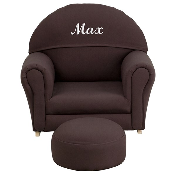 Personalized Kids Brown Fabric Rocker Chair and Footrest FLF-SF-03-OTTO-BRO-TXTEMB-GG