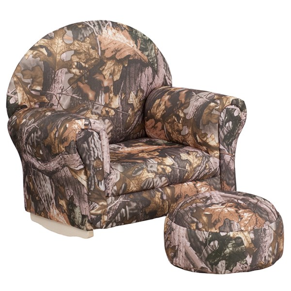 Kids Camouflage Fabric Rocker Chair and Footrest FLF-SF-03-OTTO-CAM-GG