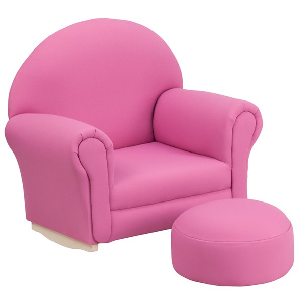 Kids Hot Pink Fabric Rocker Chair and Footrest FLF-SF-03-OTTO-HP-GG