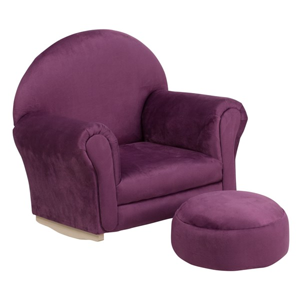 Kids Purple Microfiber Rocker Chair and Footrest FLF-SF-03-OTTO-MIC-PUR-GG
