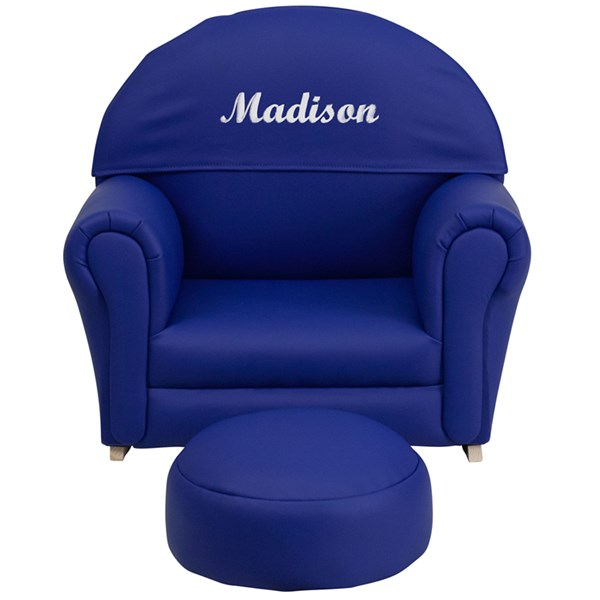 Personalized Kids Navy Vinyl Rocker Chair and Footrest FLF-SF-03-OTTO-NY-TXTEMB-GG