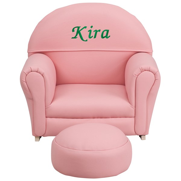 Personalized Kids Pink Vinyl Rocker Chair and Footrest FLF-SF-03-OTTO-PINK-TXTEMB-GG