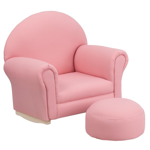 Kids Pink Fabric Rocker Chair and Footrest FLF-SF-03-OTTO-PK-GG