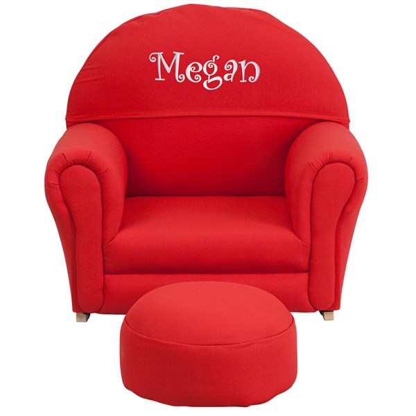 Personalized Kids Red Fabric Rocker Chair and Footrest FLF-SF-03-OTTO-RED-TXTEMB-GG