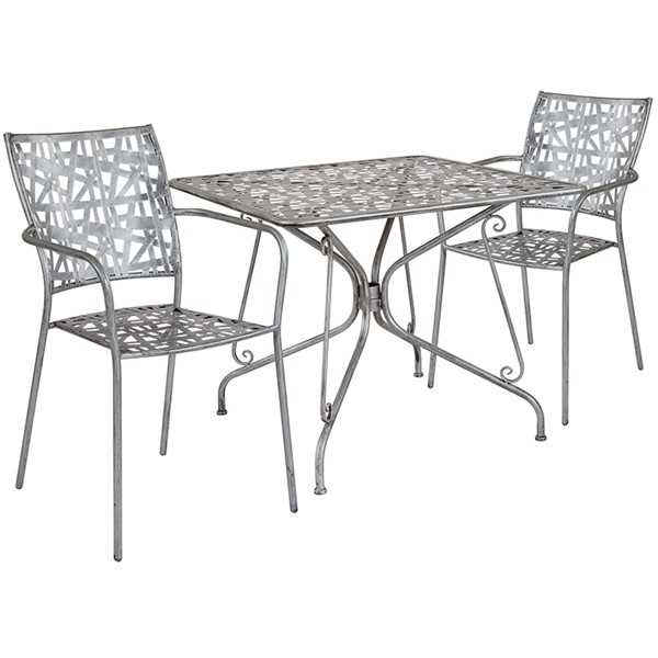 Flash Furniture Agostina Contemporary Silver Square 3pc Outdoor Dining Set FLF-SF-11-TC-GG