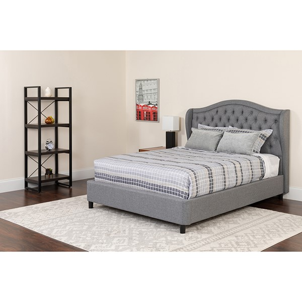 Flash Furniture Valencia Light Gray Full Platform Bed Set FLF-SL-BM-125-GG