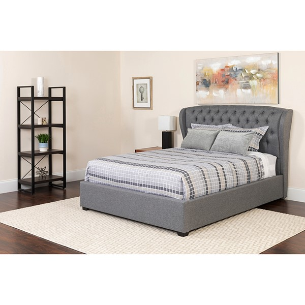 Flash Furniture Barletta Light Gray Queen Platform Bed Set FLF-SL-BM-142-GG