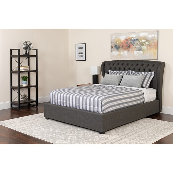 Flash Furniture Barletta Dark Gray Queen Platform Bed Set FLF-SL-BM-146-GG