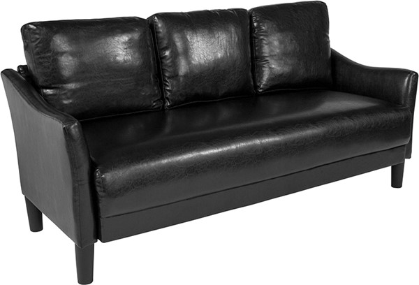 Flash Furniture Asti Black Leather Sofa FLF-SL-SF915-3-BLK-GG