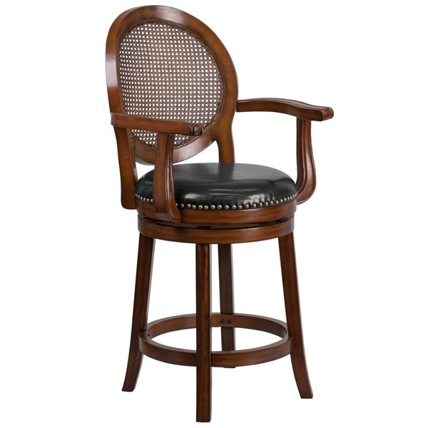 Flash Furniture 26 Inch Expresso Wood Black Leather Counter Height Stool with Arms FLF-TA-550426-E-CTR-GG