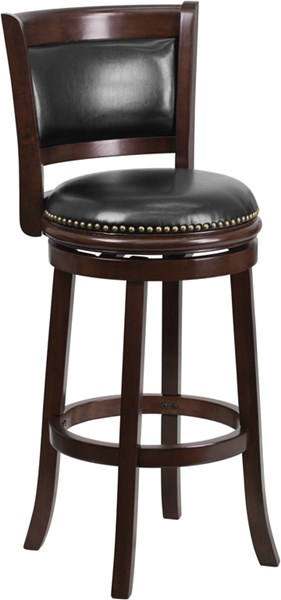 29 Inch Cappuccino Wood Barstool With Black Leather Swivel Seat FLF-TA-61029-CA-GG