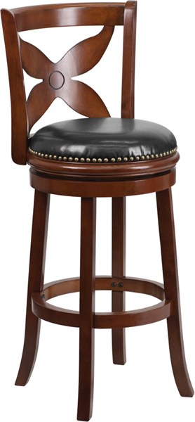 29 Inch Cherry Wood Barstool With Black Leather Swivel Seat FLF-TA-68129-CHY-GG