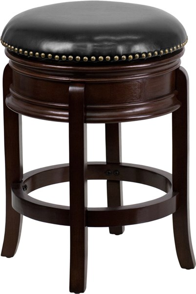 Black Cappuccino Cherry Fabric Leather Wood Counter Height Bar Stools FLF-TA-68824-CTR-GG-BS-VAR