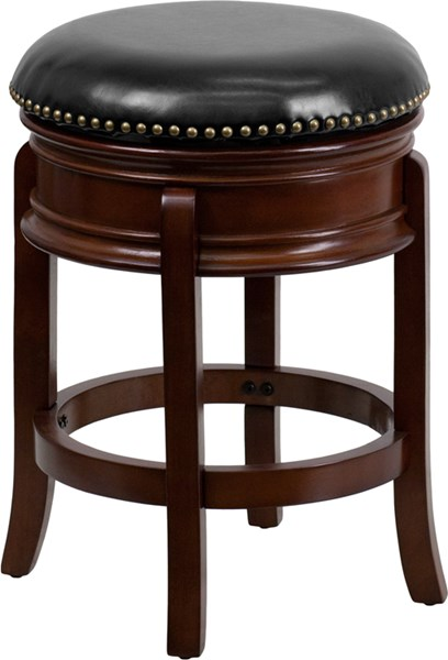 Transitional Black Cherry Leather Wood  Backless Counter Height Stool FLF-TA-68824-CHY-CTR-GG