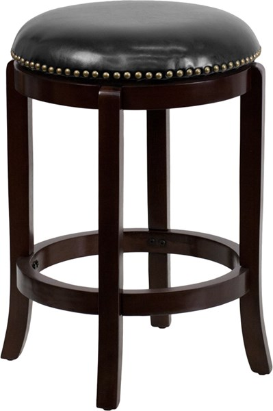 Transitional Black Fabric Leather Wood Backless Counter Height Stool FLF-TA-68924-CA-CTR-GG