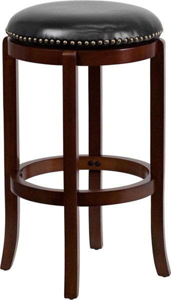 29 Inch Backless Cherry Wood Barstool With Black Leather Swivel Seat FLF-TA-68929-CHY-GG