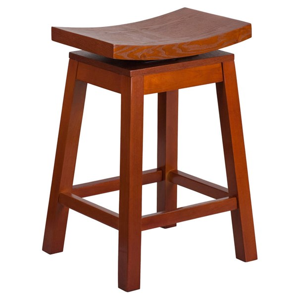Flash Furniture Light Cherry Wood 26 Inch High Saddle Seat Counter Height Stool FLF-TA-SADDLE-LC-2-GG