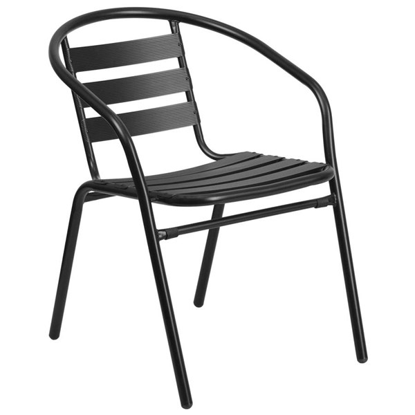 Flash Furniture Black Restaurant Stack Chair with Aluminum Slats FLF-TLH-017C-BK-GG