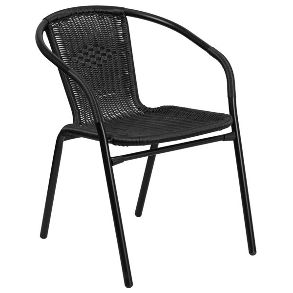 Flash Furniture Black Rattan Indoor Outdoor Restaurant Stack Chair FLF-TLH-037-BK-GG