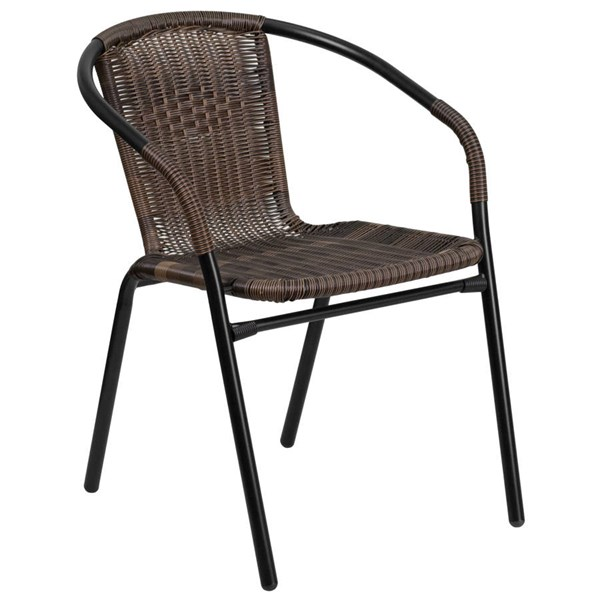 Flash Furniture Dark Brown Rattan Indoor Outdoor Restaurant Stack Chair FLF-TLH-037-DK-BN-GG