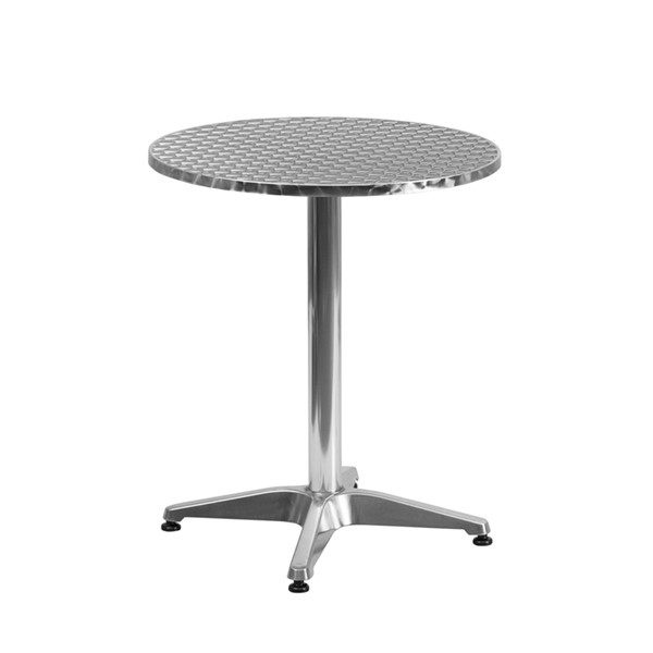 Flash Furniture 23.5 Inch Round Aluminum Indoor Outdoor Table with Base FLF-TLH-052-1-GG