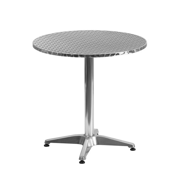 27.5 Inch Round Aluminum Indoor-Outdoor Table With Base FLF-TLH-052-2-GG