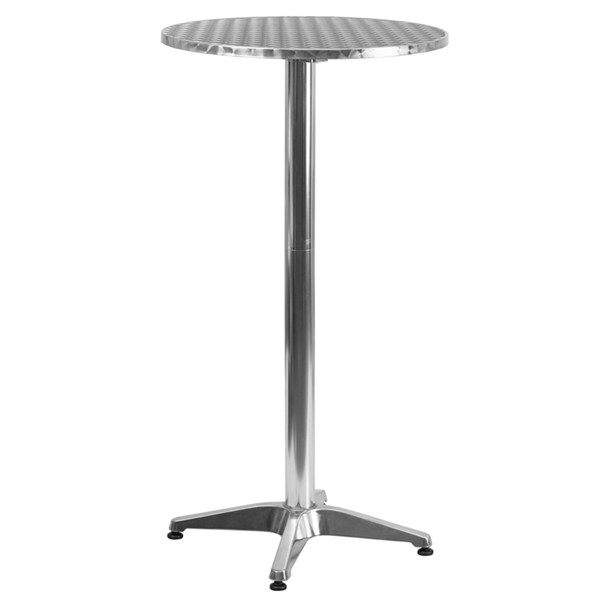 Flash Furniture 25.5 Inch Round Aluminum Indoor Outdoor Folding Bar Table FLF-TLH-059A-GG