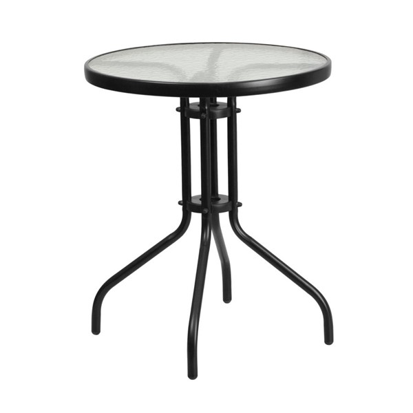 Flash Furniture 23.75 Inch Round Tempered Glass Metal Table FLF-TLH-070-1-GG