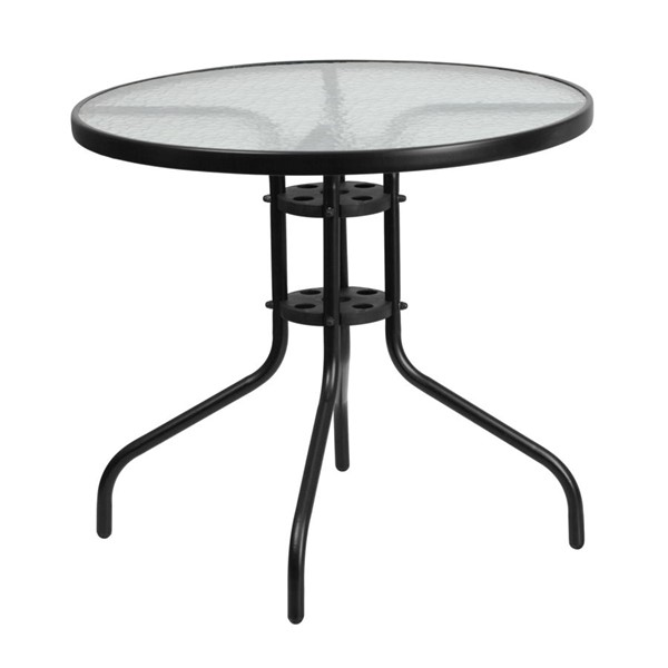Flash Furniture 31.5 Inch Round Tempered Glass Metal Table FLF-TLH-070-2-GG