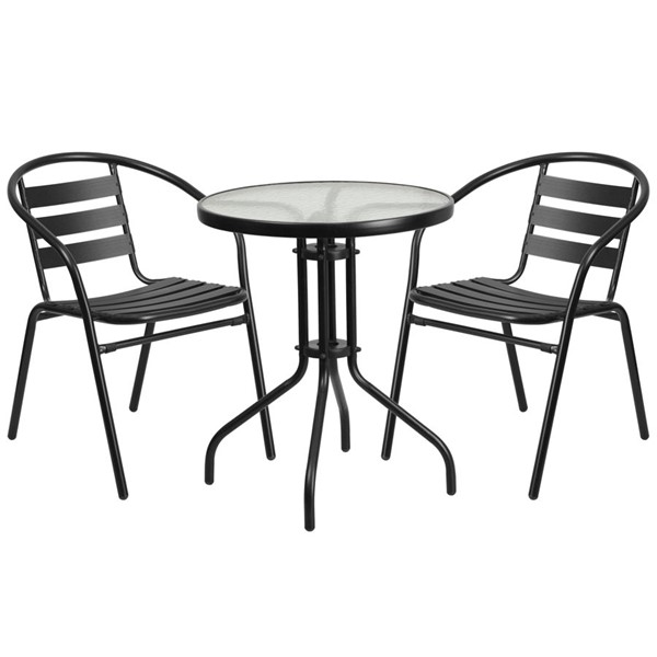 Flash Furniture Round Table with 2 Black Slat Stack Chairs FLF-TLH-071RD-017CBK2-GG