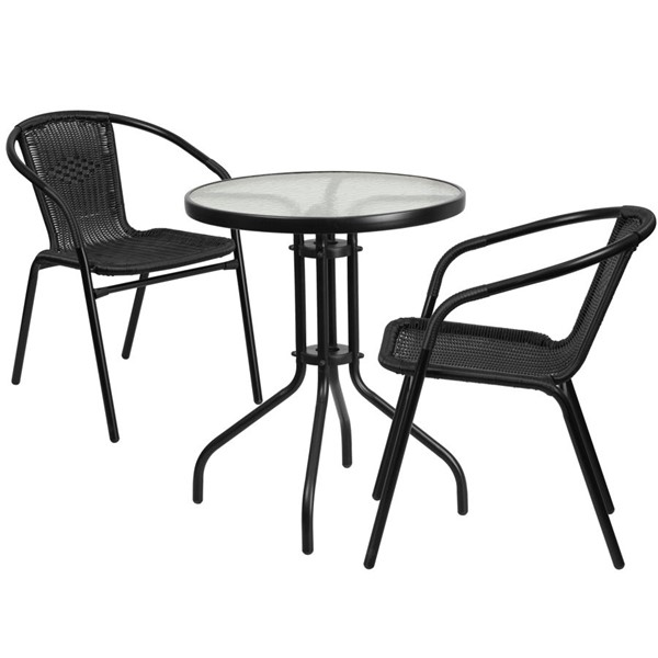 Flash Furniture Round Table with 2 Black Rattan Stack Chairs FLF-TLH-071RD-037BK2-GG