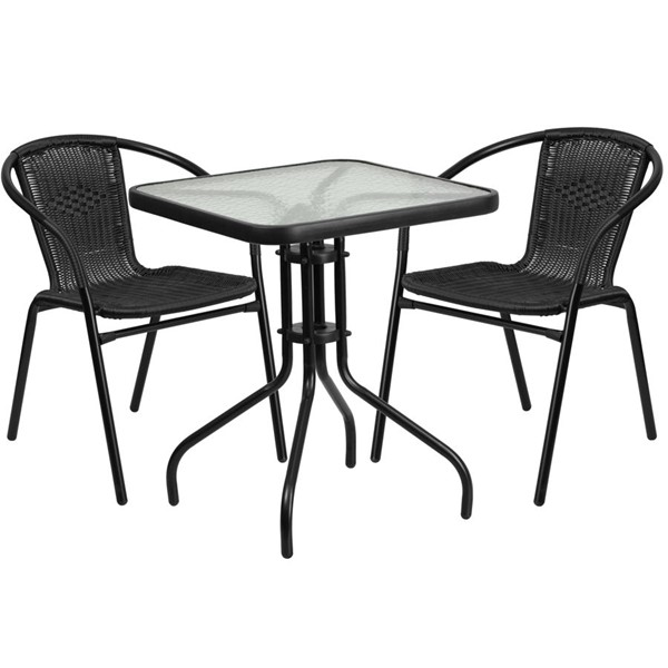 Flash Furniture Square Table with 2 Black Rattan Stack Chairs FLF-TLH-0731SQ-037BK2-GG