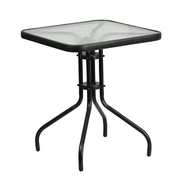 Flash Furniture 23.5 Inch Square Tempered Glass Metal Table FLF-TLH-073A-1-GG