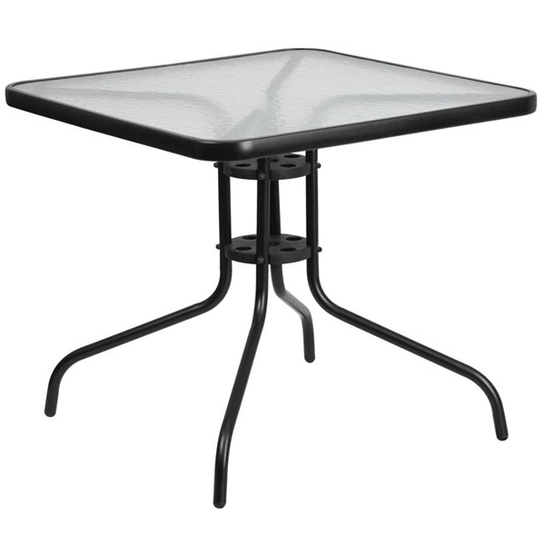 Flash Furniture 31.5 Inch Square Tempered Glass Metal Table FLF-TLH-073A-2-GG