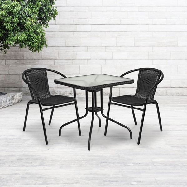 Flash Furniture 28 Inch Square Metal Table with Black Rattan Edging FLF-TLH-073R-BK-GG