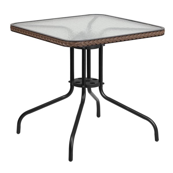 Flash Furniture 28 Inch Square Metal Table with Dark Brown Rattan Edging FLF-TLH-073R-DK-BN-GG