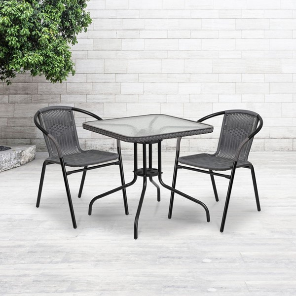 Flash Furniture 28 Inch Square Metal Table with Gray Rattan Edging FLF-TLH-073R-GY-GG