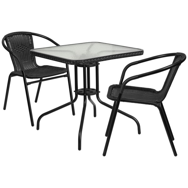 Flash Furniture 28 Inch Square Table with Black Rattan and 2 Stack Chairs FLF-TLH-073SQ-037BK2-GG