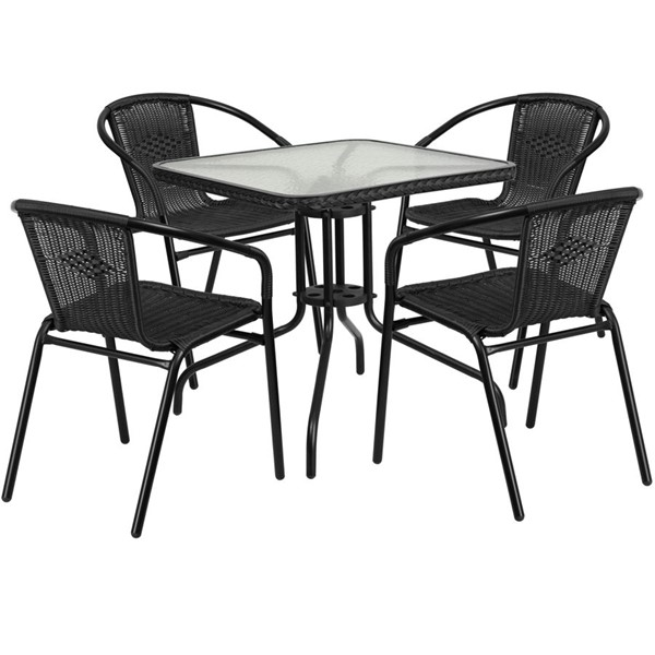 Flash Furniture 28 Inch Square Table with Black Rattan and 4 Stack Chairs FLF-TLH-073SQ-037BK4-GG