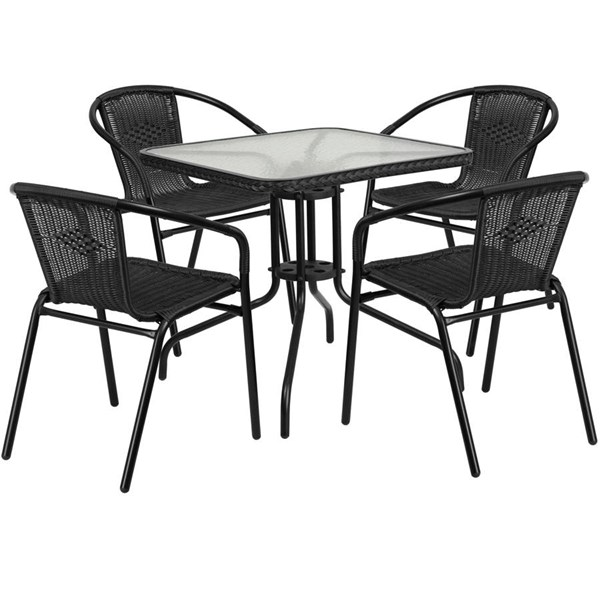 Flash Furniture 28 Inch Square Tables with Rattan and 4 Stack Chairs FLF-TLH-073SQ-037-4-GG-DR-VAR