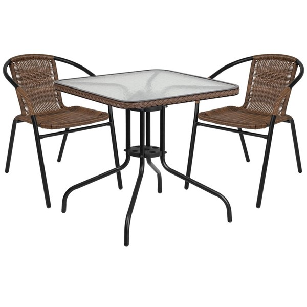 Flash Furniture 28 Inch Square Table with Dark Brown Rattan and 2 Stack Chairs FLF-TLH-073SQ-037BN2-GG