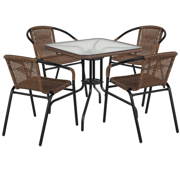 Flash Furniture 28 Inch Square Table with Dark Brown Rattan and 4 Stack Chairs FLF-TLH-073SQ-037BN4-GG