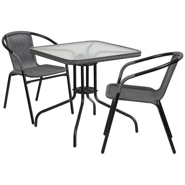 Flash Furniture Gray Rattan 28 Square 3pc Outdoor Dining Sets FLF-TLH-073SQ-037GY2-GG