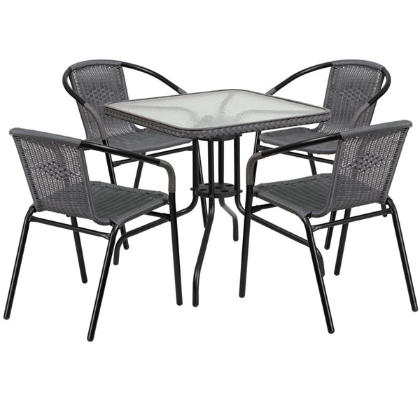 Flash Furniture Gray Rattan 28 Square 5pc Outdoor Dining Sets FLF-TLH-073SQ-037GY4-GG
