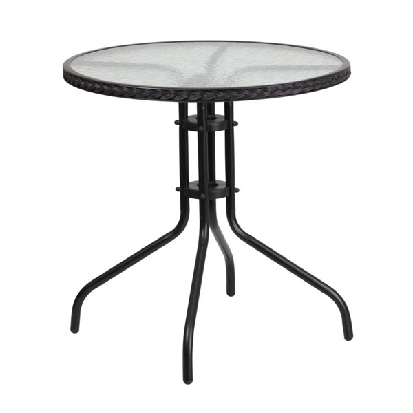 Flash Furniture 28 Inch Round Table with Black Rattan Edging FLF-TLH-087-BK-GG