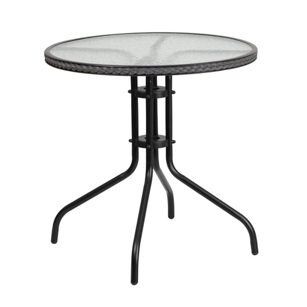 Flash Furniture 28 Inch Round Table with Gray Rattan Edging FLF-TLH-087-GY-GG