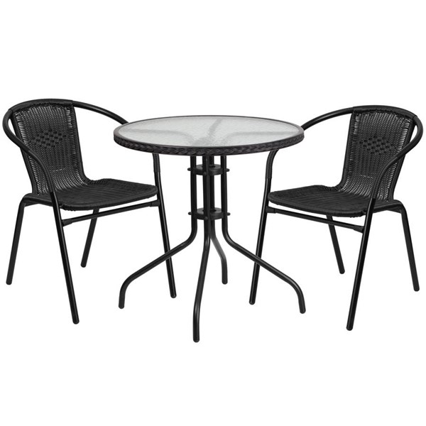Flash Furniture 28 Inch Round Table with Black Rattan Edging and 2 Chairs FLF-TLH-087RD-037BK2-GG