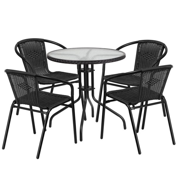 Flash Furniture 28 Inch Round Table with Black Rattan Edging and 4 Stack Chairs FLF-TLH-087RD-037BK4-GG