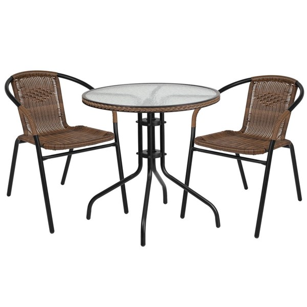 Flash Furniture 28 Inch Round Table with Dark Brown Rattan Edging and 2 Chairs FLF-TLH-087RD-037BN2-GG